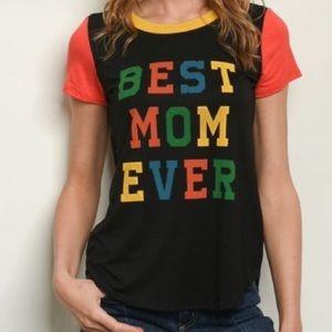 NWOT BEST MOM EVER Black Short Sleeve Tee T-Shirt
